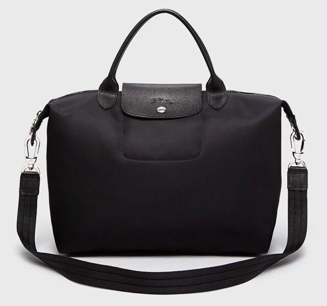 ef6f5784115 Longchamp Le Pliage Neo Medium Travel Crossbody Satchel Bag Black ...