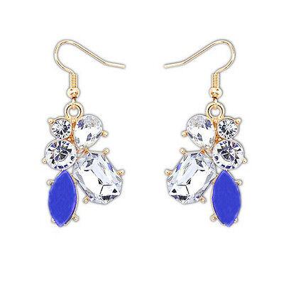 New Fashion Elegant Blue Resin Crystal Drop Flower Dangle Earring Stud Ear Hook