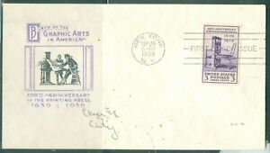 US -FDC.857 PRINTING PRESS 300th.ANNI. CANCEL.NEW YORK NY. sept.25 1939 ADDR. -