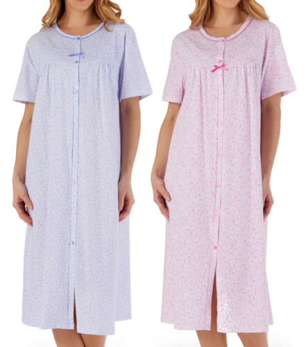 Button Front Hospital Gown Patient Nightdress Ladies Jersey Cotton Floral Nighty