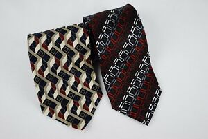 Lot-of-2-Ties-Various-Designs-Croft-amp-Barrow-Geometric-100-Silk-Black-Red
