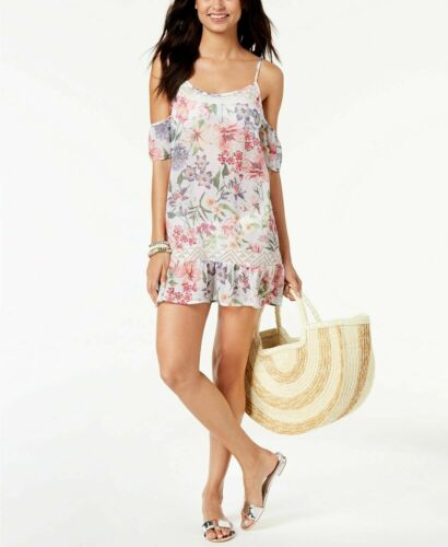 NWT Miken Floral Strappy Cold-Shoulder Bikini//Swimsuit Cover Up Sizes XS//S
