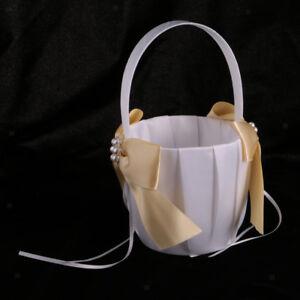 Wedding Flower Girl Basket Satin Bowknot Faux Pearl Rhinestone Decor Ivory F2Z8
