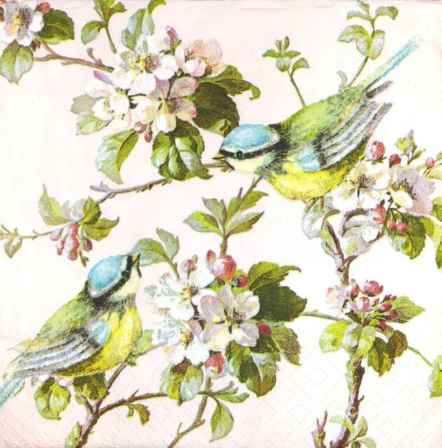 4x Paper Napkins for Decoupage Good Morning Birds