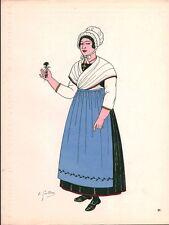 Gravure d'Emile Gallois costume des provinces françaises 1950 Lorraine, Metz