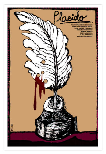 "Cuban decor Graphic Design movie Poster/""PLACIDO/""Cuba Poet.Writing ink.Writer Art"