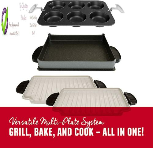 Or Foreman 5-Serving Multi-Plate Evolve Grill System With Plates, Deep Dish Bak
