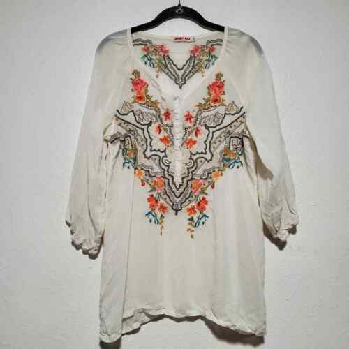 Johnny Was cream sheer embroidered tunic blouse fl