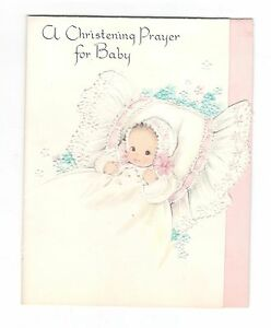 Vintage american new baby greeting card baby christening 1950s ebay image is loading vintage american new baby greeting card baby christening m4hsunfo
