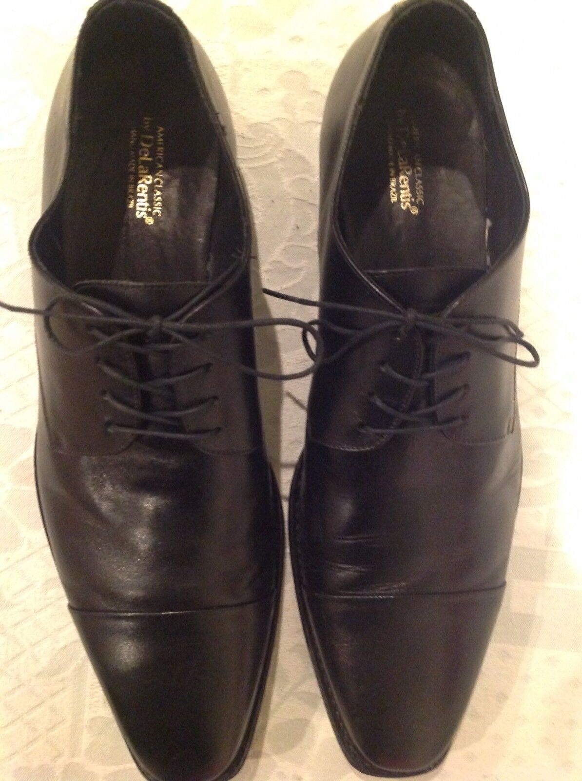 De La Rentis American Classic Men Elegant Black Leather Hand Made shoes Size 13