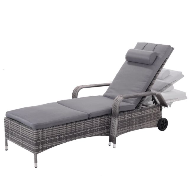 Tonal Gray Resin Wicker Chaise Lounge