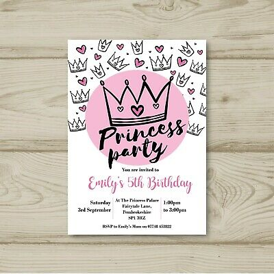 Princess Party Crown Birthday Party Invitations Personalised