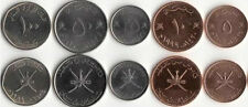 OMAN: 5 PIECE COMPLETE UNCIRCULATED COIN TYPE SET, 5 TO 100 BAISA