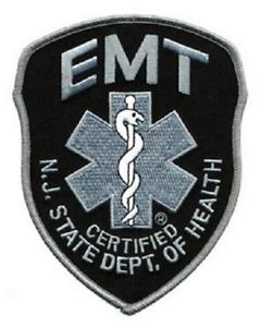 NJ EMT Emergency Medical Technician Subdued Shoulder Patch Grey on Black #5317