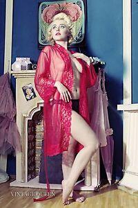 Pin-UP-Nylon-Robe-Kimono-Morgenmantel