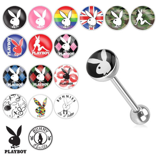 Tongue Piercing Barbell 14 Gauge with Official Playboy Bunny Logo