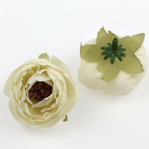 100Pc 5cm Camellia Flower Heads for Wedding Hair Clip Corsage DIY Decor 27 Color