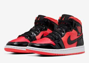 Dettagli su Nike Women's Air Jordan Retro I 1 Mid Hot Punch Patent Leather Black BQ6472 600