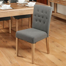 baumhaus oak flare back upholstered fabric dining chairs in slate set of 2