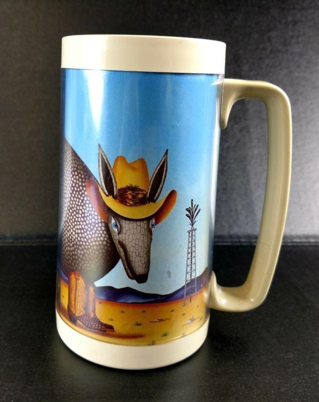 Vintage Therma-Serv 16 oz. Insulated Mug Texas  Armadillo Desert Oil Well  ANB  honest service