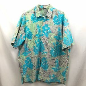 Vintage-Rum-Reggae-Hawaiian-Shirt-Mens-Large-Blue-Short-Sleeve-Cotton-Button-Euc