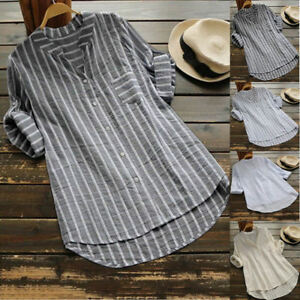 Plus-Size-UK-Womens-Summer-Striped-V-Neck-Blouse-Baggy-Tops-Ladies-Tunic-T-Shirt