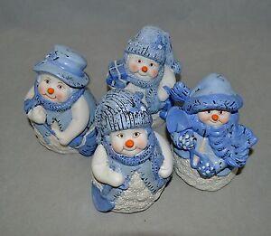 Vtg Christmas Winter Decor Snowman 4 Figurines K