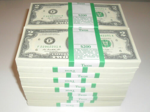 $200 100 UNCIRCULATED USA $2 TWO DOLLAR BILL SEQUENTIAL ORDER NEW RARE!!!