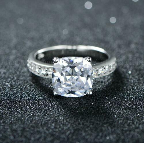 925 Sterling Silver Natural White Fire Topaz Gems Woman Wedding Ring Size 5-10