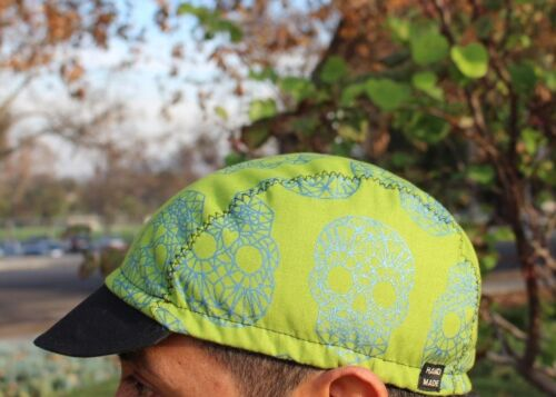 Cycling cap color green skull w shine line blue  HANDMADE  IN USA  ANY SIZE