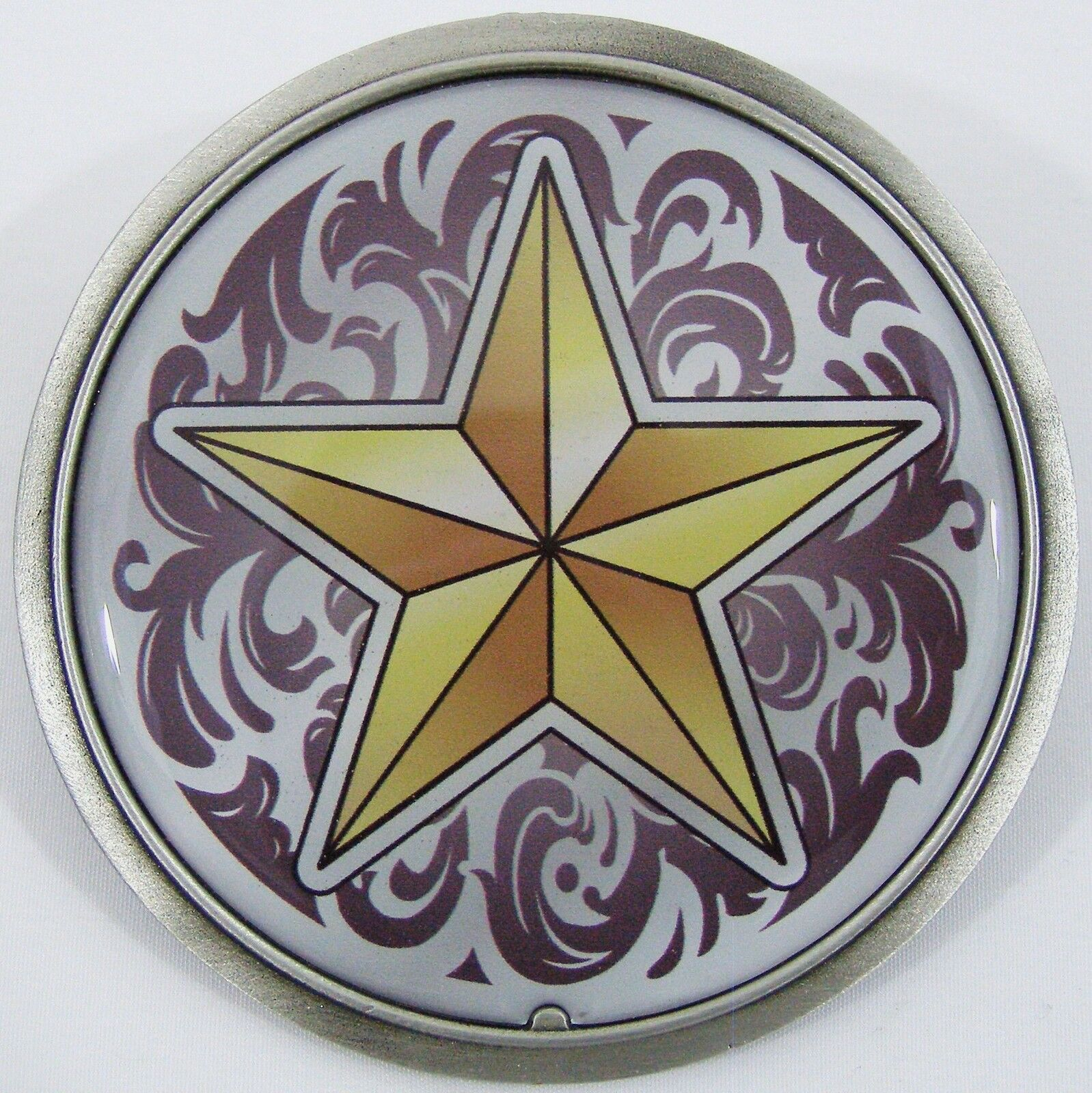 BELT BUCKLES Star Western Scroll Golden Yellow Maroon Antiqued Silver Circle NEW