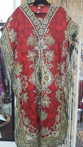 Red-Multi-Maxi-Casual-Beach-Cover-Up-Drawstring-Kaftan-Free-Size-19-95