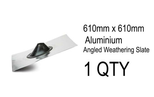 1 x Soil Angled 610mm x 610mm Weathering Slate Rubber Aluminium Roof Flue Tile