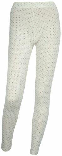 Damas Niñas Pijama Pijama Pantalones Leggings Lounge Ropa Talla 6-8 Crema y Azul