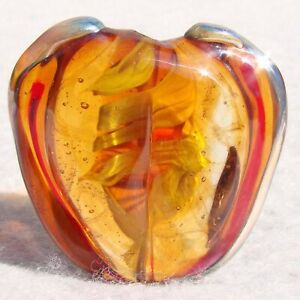PEACHY-Handmade-Art-Glass-Focal-Bead-Flaming-Fools-Lampwork-Art-Glass-SRA