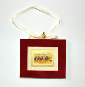 Horse-Racing-Hand-Crafted-Velvet-Framed-USA-Stamp-Christmas-Tree-Ornament