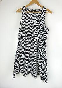 DOTTI-Dress-Sz-12-Black-White-Stripe-Print