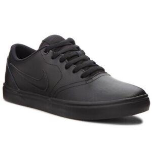 Nike-SB-Check-Solarsoft-Triple-Nero-Da-Uomo-LO-SKATEBOARD-Scarpe-Da-Ginnastica-Casual-Scarpe-Da