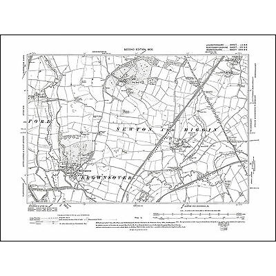 Shawell in 1905 - old map Leicestershire 52SE