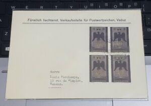 1956-Liechtenstein-150-years-furstentum-4V-stamp-cover-31-August-56-Europe