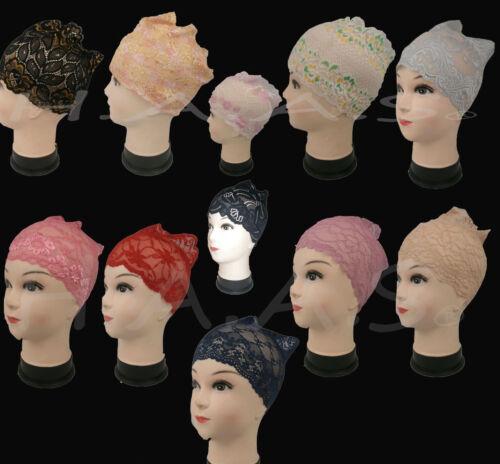 10 x tubo di pizzo donna elegante COFANO OSSO Hairband Cap Hijab Chemio underscarf