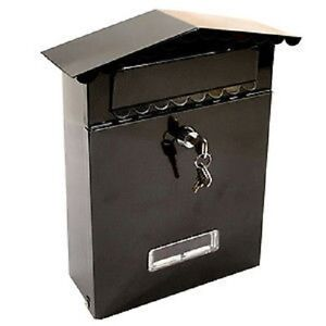 BLACK-POST-BOX-LETTER-BOX-MAIL-BOX-WITH-SECURE-LOCK-SYSTEM-WALL-MOUNTED