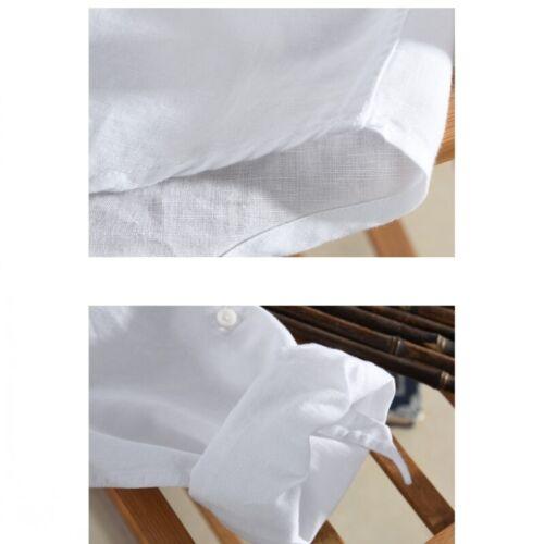 Men/'s Casual Shirt Cotton Linen Button Front Long sleeve Plain Blouses Leisure B