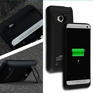 buy online 0145e ef580 Details about 3200mAh For HTC One M7 Power Backup Extended Battery Case  Cover Stand Charger