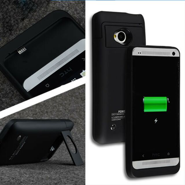 official photos 1a54a b092b 3200mAh For HTC One M7 Power Backup Extended Battery Case Cover Stand  Charger