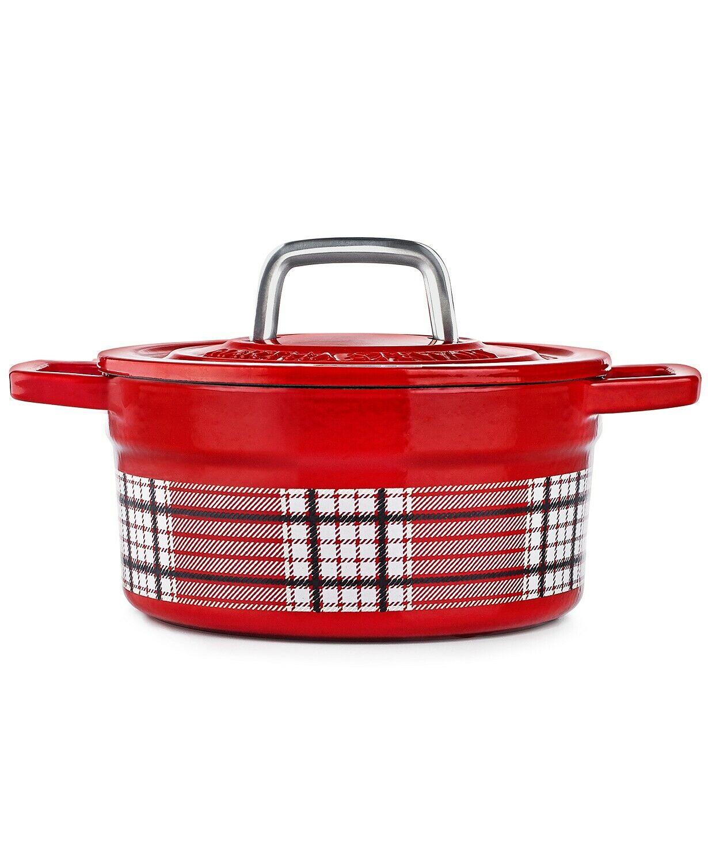 Martha Stewart, Plaid 2-Qt. Enamel Cast Iron Casserole Dutch Oven (2 colors)