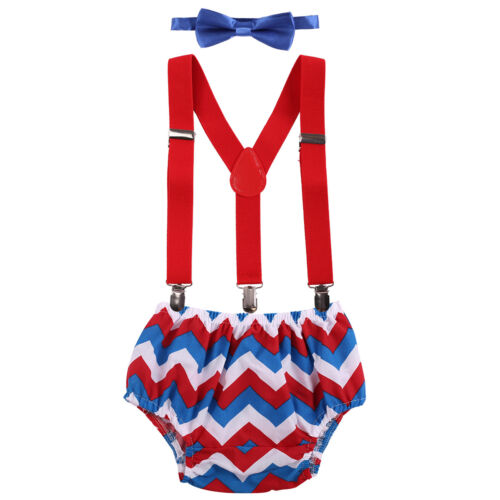 Cake Smash Outfit Baby Boy 1st Birthday Party Clothes Suspenders Bow Tie Pants