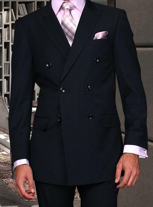 Herren Marine Blau Zweireihig Super 45.7mS Wolle Designer Geschäft Anzug 38-56