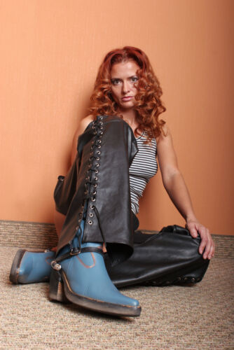 Mans or Womans PURE LEATHER CHAPS  Biker Most Sizes Available