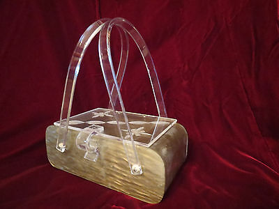 True Vintage Lucite Purse Handbag Carved Clear Top Designs Marbled Silver Gray